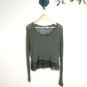 American Eagle Olive Green Sheer Lace Trim Top